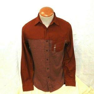 Two Tone Button Down Flannel Shirt Men's Size S
